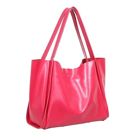Fineplus Women's Classic Fashion Qualited Vintage Leather Lady Versa Hobo Portable Shoulder Bag Rose Red