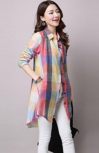 Smile YKK Chemisier Femme Grande Taille Blouse Coton Tops à Manches Longues Motif Carreaux Multicolore