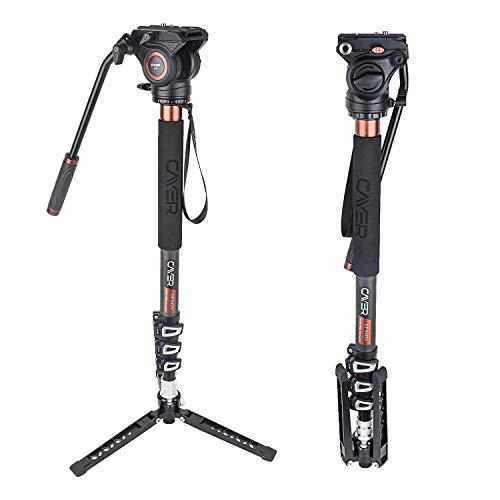 """Cayer CF34DVH4 Professionelles Video-Einbeinstativ 71""""Carbonfaser-Einbeinstativ mit Schwenk-Neige-Fluidkopf und 3-Bein-Stativfuß für DSLR-Videokameras-Camcorder sowie 1 zusätzliche Gleitplatte"""