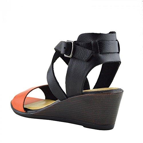 Kick Footwear - Donna Metà Tacco A Zeppa Di Cuoio Reale Estate Confortevole Casual Sandali Arancione