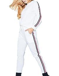 2PCS Trajes Deportivos Mujeres Ropa Deportiva Mangas Largas Chándal Sólido Juegos Deportivos Sudadera Rayas Capucha + Pantalones Otoño Invierno Correr Jogging Hibote