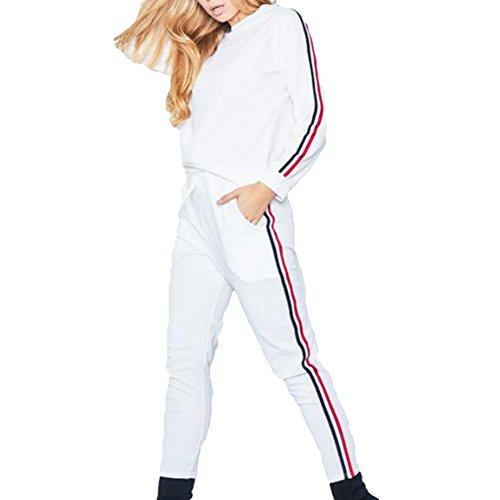 Abbigliamento Sportivo Donna Vestiti Jogging Maniche Lunghe Set Sport 2pcs Vestiti Sportivi Autunno Strisce-Sides Felpa + Pantaloni Juleya Bianca