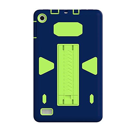 Tablet Computer Case Protector Shell stoßfest Armor Displayschutzfolie Farbe Blocks Schutzhülle für 2017Marke New Fire 7 (Cowboy-mini-taste)