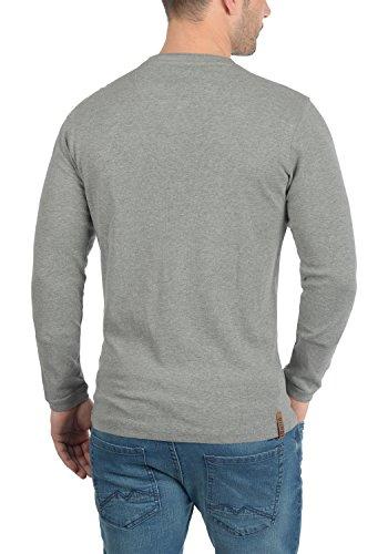 !Solid Toki Herren Longsleeve mit Waffelstruktur und Grandad-Ausschnitt Aus 100% Baumwolle Grey Melange (8236)