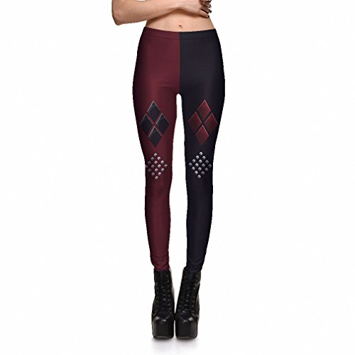 Harley Quinn rote und schwarze Leggings dc Harley Quinn Suicide Squad elasthan leggings Harlekin joker Kostüm Legging (Harley Halloween-kostüm Quinn)