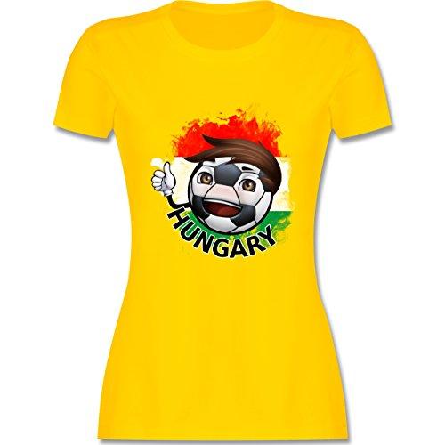 EM 2016 - Frankreich - Fußballjunge Ungarn - tailliertes Premium T-Shirt mit Rundhalsausschnitt für Damen Gelb