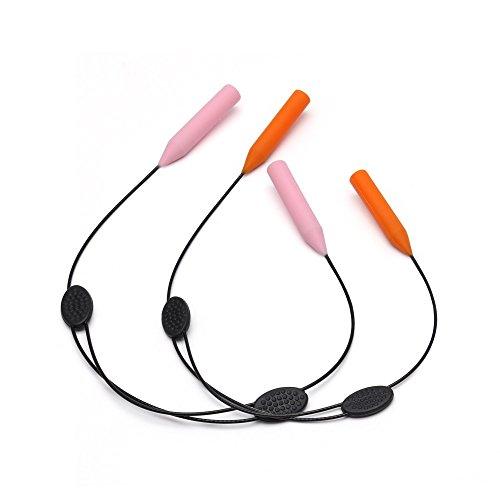 JM Einstellbar Sport Sonnenbrillen Kette Brille halterung - Anti-Rutsch Brillenhalter Gurt Für Damen Herren Kinder 2 Stück(Rosa&Orange)