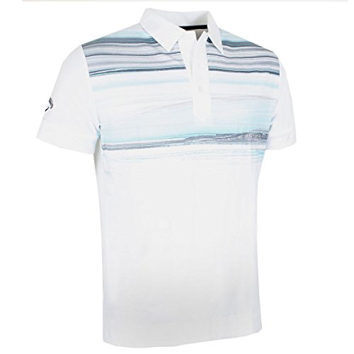 NEW 2017 Callaway Brush Print Polo Opti-Dri Performance Mens Golf Polo Shirt Bright White Medium (Ärmel Herren Golf Polo)