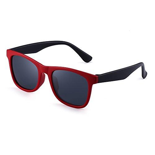 Polarisiert Kinder Sonnenbrille Gummi Jungs Mädchen Kids Flexibel Brille Alter 3-12 (Rot Schwarz/Polarisiertes Grau)