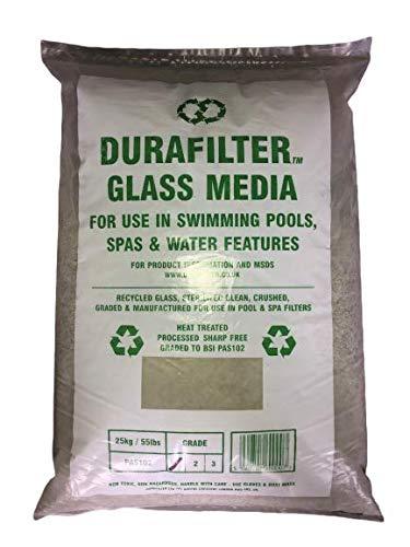 Ersetzen Sie Filter und Quarzsand durch Filterglas Durafilter Für Sandfilteranlagen. Reduzieren Sie die Kosten für Wasser, Sand Filter Pump Energy and Chemicals. Säcke von 25 kg von 0,5 bis 1,00 mm.
