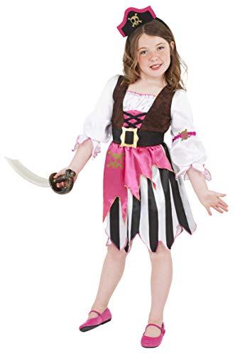 Smiffys Kinder Piraten Mädchen Kostüm, Kleid und Haarband, Größe: S, 38640 (Kinder Rosa Piraten Kostüm)