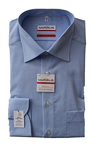 Marvelis Hemd, Modern Fit, Extra lang 69er Arm, Bügelfrei, Knitterfrei, 100% Baumwolle, New Kent Kragen (44, Hellblau) (Lange Extra Ärmel)