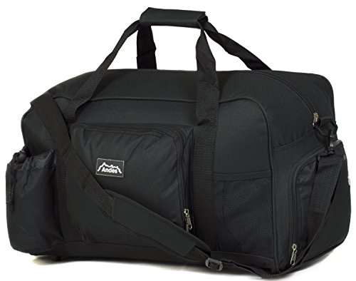 Andes 40 Litre Black Sports Gym Travel Bag Shoulder Holdall Luggage, Includes Shoe Pocket, Drinks Pocket and Adjustable Shoulder Strap