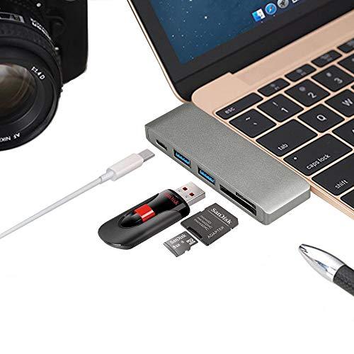 hiotech Typ C Hub Adapter 3USB 3.0Ports mit SD & Micro-SD-Kartenleser für neue MacBook 30,5cm/New Macbook Pro 33cm 38,1cm/Chromebook Pixel und mehr 2008 Microsd