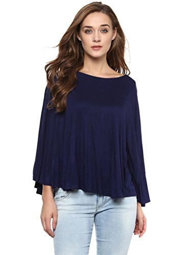 Miss Chase Women's Navy Blue Solid Sleeveless Round Neck Cape Tops