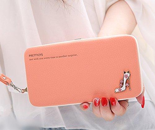 MOCA Cute (High Heels) Women\'s Wallet Clutch Long Purse Hand Purse for Women\'s Girls Ladies Wallet Purse Clutch Hand Purse Phone Bag Case Checkbook Holder For Womens Wallet (Orange.)