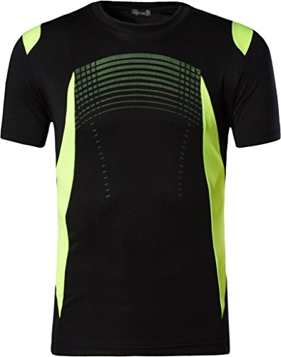 jeansian Herren Sportswear Quick Dry Short Sleeve T-Shirt LSL194_Black L -