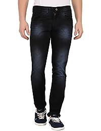 JUGEND Black Whiskered Slim Fit Stretchable Jeans for Men