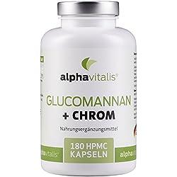 Endlich abnehmen mit Glucomannan + Chrom Kapseln - 4000 mg - 180 Kapseln - ohne Magnesiumstearat - 30 Tage Kur - vegan