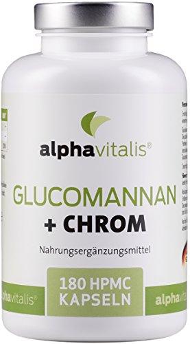 Endlich abnehmen mit Glucomannan + Chrom Kapseln - 4000 mg - 180 Kapseln - ohne Magnesiumstearat - Laborgeprüft - 30 Tage Kur - vegan - Blutzucker senken