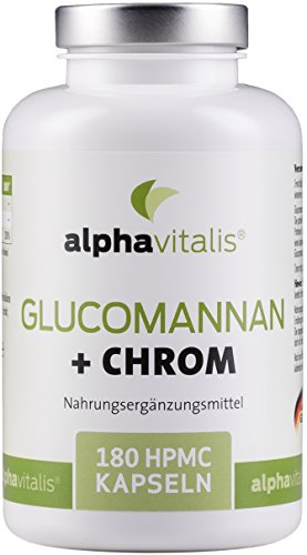 Endlich abnehmen mit Glucomannan + Chrom Kapseln - 4000 mg - 180 Kapseln - ohne Magnesiumstearat - Laborgeprüft - 30 Tage Kur - vegan EINWEG