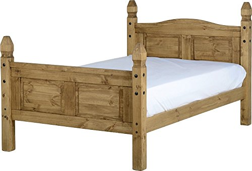 Corona Mexican 4' Small Double Bed Frame Solid Pine Distressed Waxed Finish