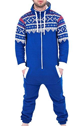 Juicy Trendz Herren Kapuzenjacke Hoody Strampelanzug Körperanzug Jumpsuit Overall BLU-AZT-XL