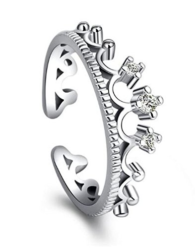 Karatcart Platinum Plated Elegant Austrian Crystal Crown Cut Adjustable Ring For Women