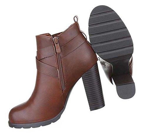 Damen Boots Stiefeletten Schuhe Stretch Braun Schwarz 36 37 38 39 40 41 Braun