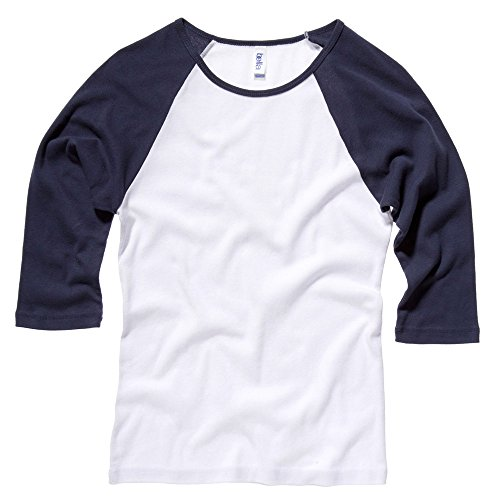 Bella Canvas Baby Rib 3/4 Hülse Raglan-T-Shirt Mehrfarbig - White/navy