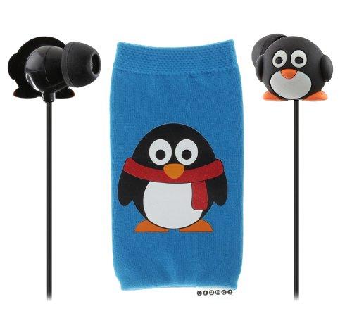 Trendz Zubehör Set mit Universal Handysocke und In-Ear Kopfhörer für iPad, iPhone, MP3 und Smartphone - Pinguin