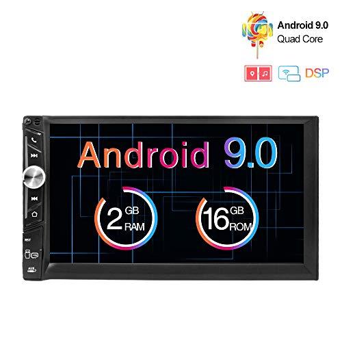 Freeauto Android 9.0 2 DIN Autoradio Universal, GPS Navegador Radio para Coche estéreo Doble soporta Bluetooth, Control Volante, WiFi, Mirror-Link, Subwoofer, USB, AV-out