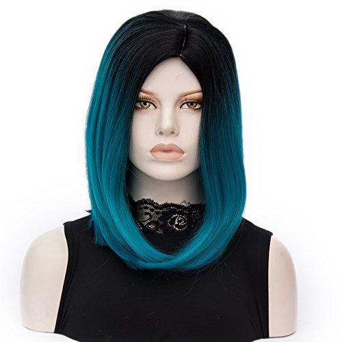 ATAYOU-WIG 2 Töne Farbverlauf Mittel Länge Bob Frauen Cosplay synthetische Perücken (Schwarzes zu (Perücke Blau Twotone Kostüme)