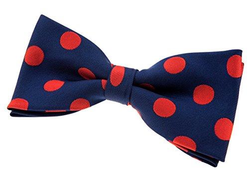 Retreez à pois chic vintage tissé pre-tied Nœud Papillon en microfibre (11,4cm) Navy Blue with Red Dots