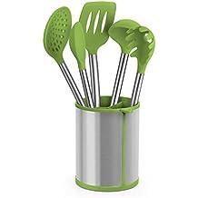 BRA Prior Conjunto de Utensilios de Cocina y Carrusel Compuesto, Acero Inoxidable, Verde, 14.5x15x37.5 cm