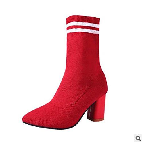 Mid High Slouch Boot (HSXZ Damenschuhe PU Winter fallen Comfort Boots Blockabsatz Runder Mid-Calf Stiefel für Casual Rot Schwarz, Rot, UNS 6,5-7/EU 37/ UK 4,5-5/CN 37)