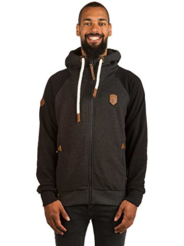 Naketano Male Zipped Jacket Fucking for Freedom III anthracite melange / blac