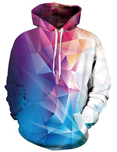 Loveternal Unisex Hoodies Bunte Kristall 3D Druck Kapuzenpullover Pullover Langarm Leichte Sweatshirts Mit Taschen S/M -