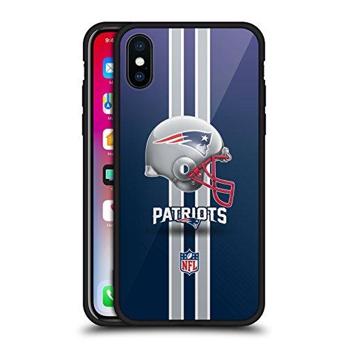 Head Case Designs Ufficiale NFL Elmetto New England Patriots Logo Cover Nera Ibrida in Vetro per Parte Posteriore Compatibile con iPhone X/iPhone XS