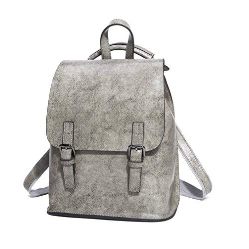 Nvfshreu Handtasche Leder Rucksack Vintage College School Rucksack Für Teenage Girl Einfacher Stil S Frauen Aus Natürlichem Leder Rucksack, (Color : Grey, Size : 24x25x11cm) -