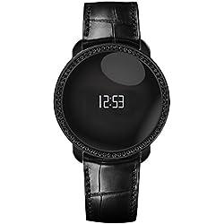 MyKronoz ZeCircle Swarovski - Pulsera de actividad y sueño con notificaciones y cristales, color negro