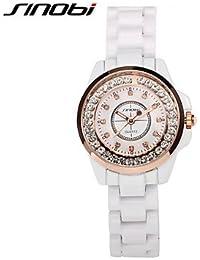 Relojes Hermosos, Mujer Reloj de Moda Cuarzo Resistente al Agua Aleación Banda Blanco Marca- SINOBI ( Color : Blanco , Talla : Para Mujer-Una Talla )