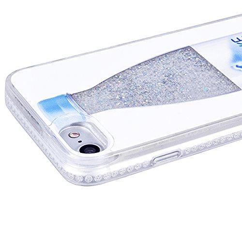 VemMore Etui pour iPhone 7 Plus / iPhone 8 Plus Transparente Paillette Rigide Liquide Design acve 3D Silicone Bumper Souple Diamant Diamond Antichoc Case One Piece Bling Glitter Etui de Protection Hou Bouteille