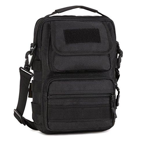 cinmaul Outdoor Taktisches Schulter Rucksack Militär Sport Tasche Pack Tagesrucksack Rover Sling für Camping, Wandern, Trekking schwarz - schwarz