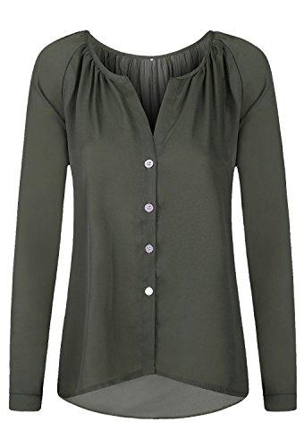 Minetom Blouse Tops Chemise OL Femme Manche Longue Chic Élégant Mousseline Sexy Col V T Shirt Pullover Printemps Casual Armée Verte