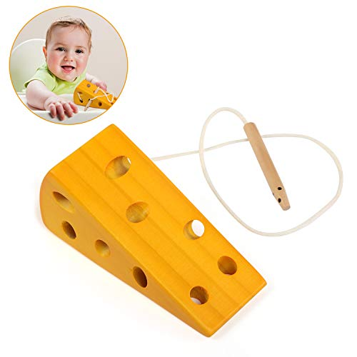 LEADSTAR Montessori Activity Wooden Cheese Toy, Juguetes Montessori, Niños Aprendizaje Temprano Educativo Bloque de Madera Rompecabezas de Juguete para Niños Niñas