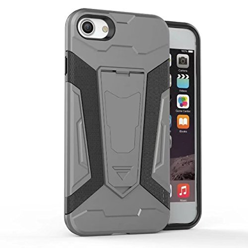 Hülle für iPhone 7 plus , Schutzhülle Für IPhone 7 Plus Neue Rüstung Tough Hybrid Dual Layer Rüstung Defender PC Hard Shell Cover mit Kickstand [Shockproof Case] ,hülle für iPhone 7 plus , case for ip Gray