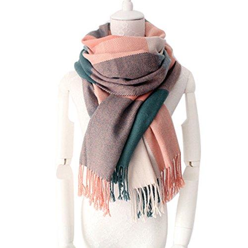 Damen Winter Schal Kariert übergroßer Quadratisch Deckenschal, Karo Tartan Streifen Plaid Muster XXL Oversized Fransen Poncho