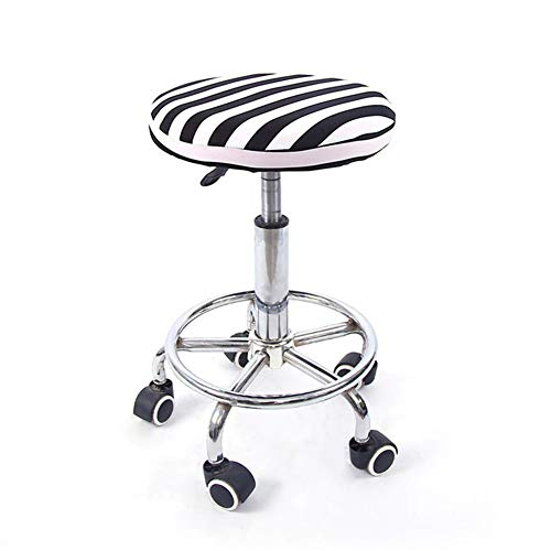 ACHICOO 12 \'\' Lift Hocker Rundkopf Soft Stuhlabdeckung Micro Elastic Cushion Sitzhülle Black and White Stripes Flexible