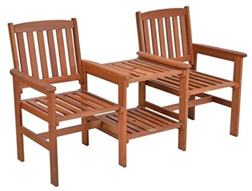 SSITG Tee-Bench Gartenbank mit Tisch 2 Sitzer Gartenbank Holz Sitzbank Bank Parkbank